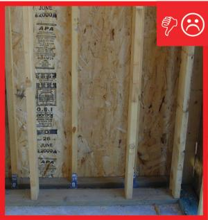 Wrong – No air barrier installed between the walls and a larger gap between the walls that needs sealing