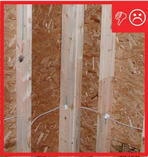 Wrong – Framing does not allow corner to be insulated