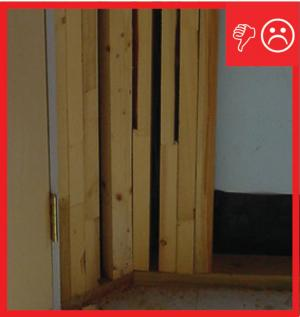 Wrong – Excessive framing will not allow corner to be insulated