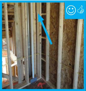 Right – Gap in framing will allow corner to be filled with insulation