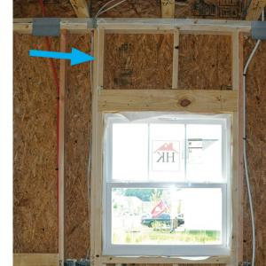 Right – Window framing has appropriate number of king studs