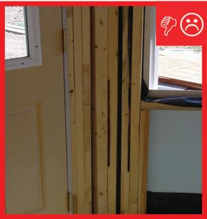 Wrong – Excessive and structurally unnecessary framing at door