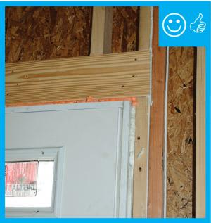 Right – Appropriate door framing installed