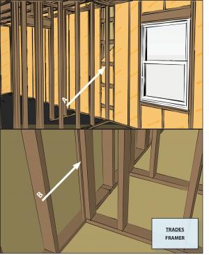 Advanced framing details include framing aligned to allow for insulation at interior-exterior wall intersections.