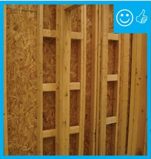 Right – Ladder blocking allows for insulation behind the wall intersection