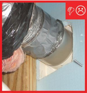 Wrong – Penetration hole is larger than duct and not sealed
