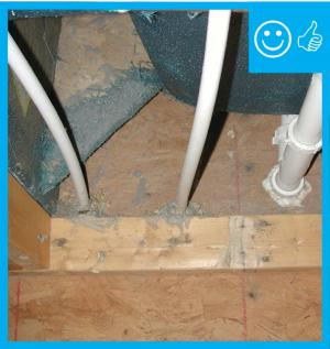 Right – Neatly cut holes have been properly sealed with caulk and foam