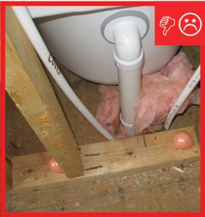 Wrong – Fibrous insulation is not an air barrier and cannot be used for sealing holes