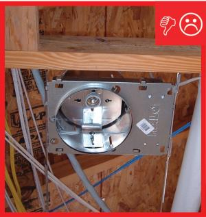 Wrong – Non ICAT recessed light installed
