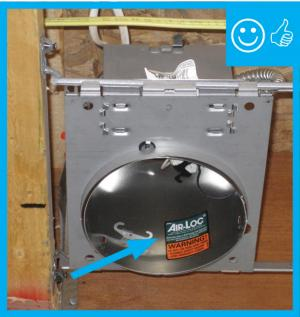 Right – ICAT labeled recessed light installed but still needs gasket