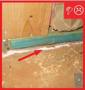 Wrong – Caulk is too far from sill plate to properly air seal