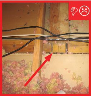 Wrong – Top plate to drywall connection not sealed
