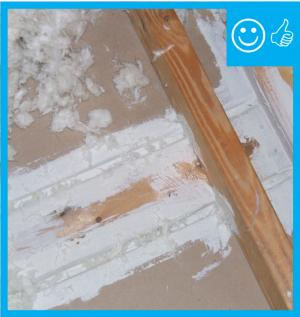 Right – Top plate to drywall connection sealed from attic with caulk