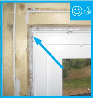 Right – Rough opening around window has been filled with low-expansion foam to air seal