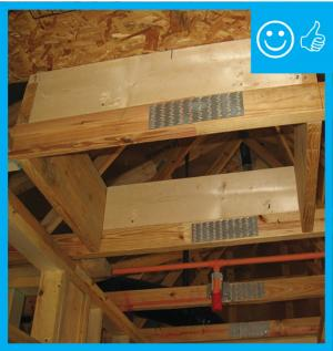 Right – Blocking has been installed around the perimeter of this attic access to prevent insulation falling into the house