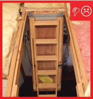 Wrong – Drop down stairs do not have insulation cover installed