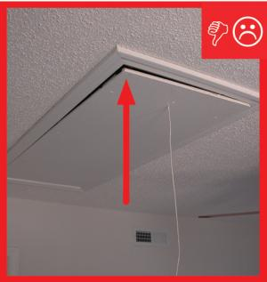 Wrong – There is no weather stripping or gasket around the attic stair hatch