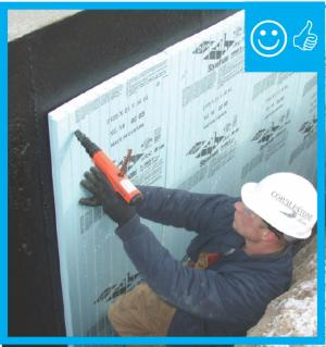 Right – Below-grade concrete has been properly sealed against moisture and is now having insulation installed