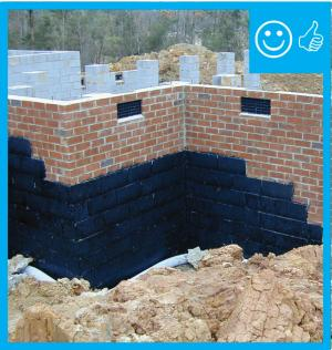 Right – The below-grade concrete walls have damp-proof coating