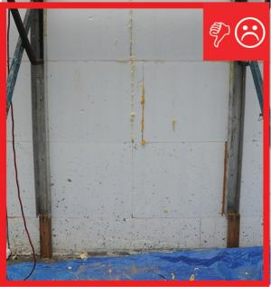 Wrong – The insulated concrete forms at the foundation do not have a damp-proof coating