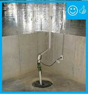 Right – The sump pump has a sealed cover that is mechanically attached
