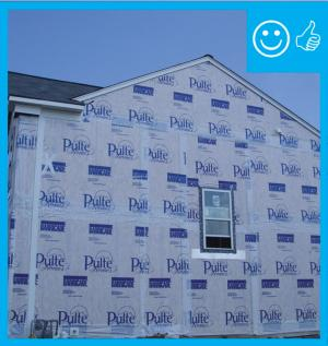 Right – The water-resistant barrier covers the entire house and the seams are taped to provide a complete drainage system
