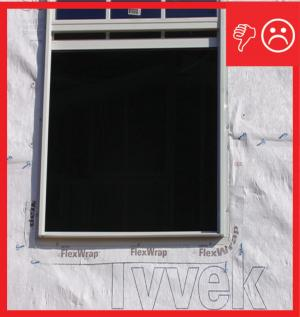 Wrong – There is no flashing installed along the sides of the window