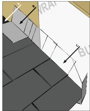 Step and kick-out flashing at all roof-wall intersections extending ≥ 4 in. on wall surface above roof deck and integrated with drainage plane above