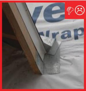 Wrong – the water-resistant barrier is layered underneath the step flashing, which could allow water to get behind the step flashing and into the wall.