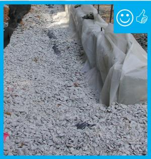 Right – House without gutters has waterproof liner, drain tile, and gravel bed extending more than 5 feet from foundation