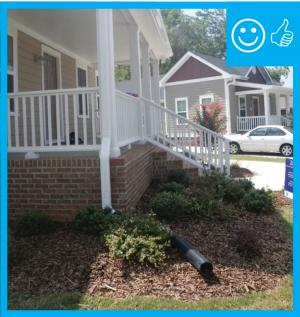 Right – The downspout pipe is far enough away from the foundation to prevent moisture problems