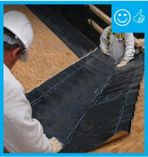 Right – There is a self-sealing bituminous membrane installed at the valley of the roof prior to the roof felt