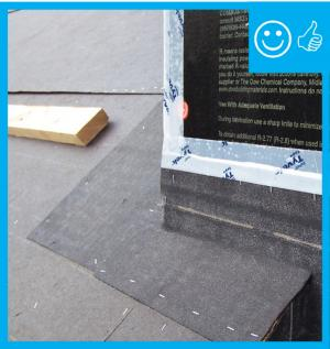 Right – There is a properly installed and layered self-sealing bituminous membrane at the roof penetration