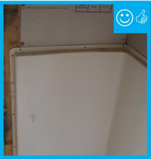 Right – Moisture-resistant backing material has been used above the tub enclosure