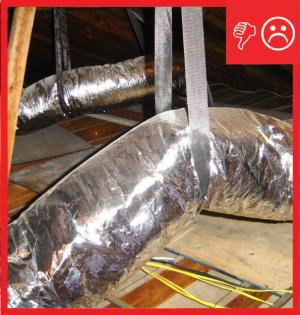 Not enough straps were used to hang this flex duct so it is sagging, restricting air flow