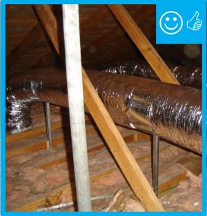 Flex duct installed with adequate support and pulled taut to provide adequate air flow