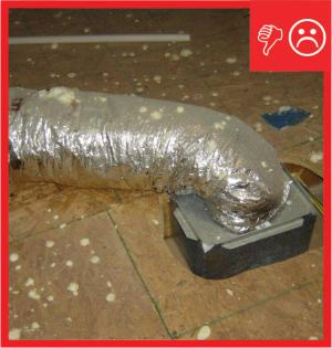 Flex duct resting on floor compressing insulation and causing condensation
