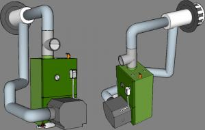 An oil-fired boiler with direct combustion air and exhaust venting