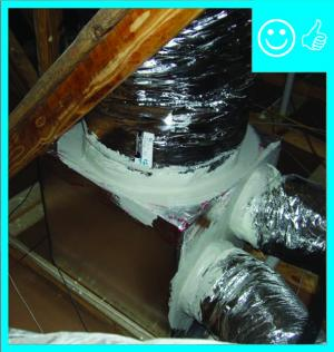 Right – Flex duct is mastic sealed at junction box