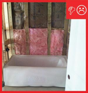 Wrong – Air barrier missing behind tub area