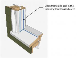 Recommended sealant location as part of window frame rehabilitation