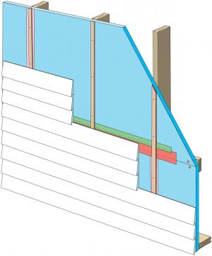 Rigid foam insulation can serve as the drainage plane when all seams are taped. Furring strips provide an air gap behind the cladding.