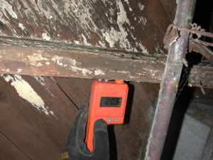 Wrong – this framing material has a moisture content above 18% as shown by the moisture meter