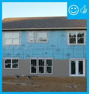 Right – Structural insulated sheathing can provide racking strength (lateral load resistance), and serve as an air barrier and thermal barrier if installed according to manufacturer's specifications with taped, sealed seams