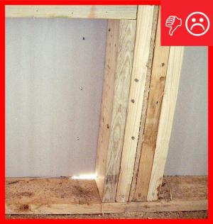 Wrong – When insulated sheathing is installed correctly, you should not see daylight. Nail holes were also left unplugged.
