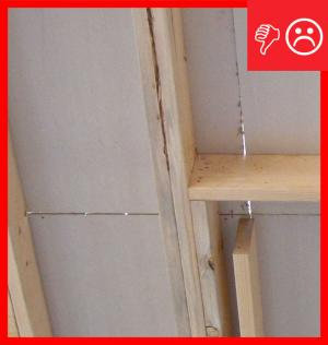 Wrong – Insulated sheathing seams should align with framing members