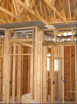 The Drywall Above The Dropped Ceiling Duct Chase Extends Beyond Adjoining  Top Plates For A Continuous