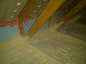 Insulate an attic in an existing home by installing spray foam (typically closed-cell) on top of the ceiling plane i.e. on the floor of the attic ... & Spray Foam Insulation Applied to Existing Attic Ceilings | Building ...
