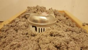 Wrong – Insulation is in direct contact with this non-insulation contact (IC)-rated recessed light fixture