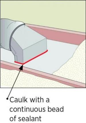 Caulk air seals the boot to the ceiling